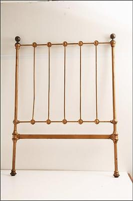 Antique CAST IRON BED FRAME headboard gold architectural gate vintage trellis