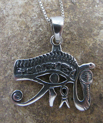 Sacred Eye of Horus Pendant Necklace Ancient Egyptian Wadget Symbol 925 Silver