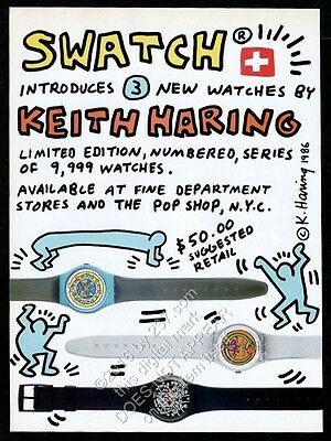 1986 Keith Haring Swatch watch 3 designs photo and art scarcer version print ad