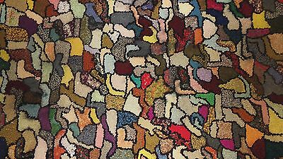 """Antique / Vintage Hand Hooked Wool Area Rag Rug CRAZY Bold Colors 38"""" X 45"""""""