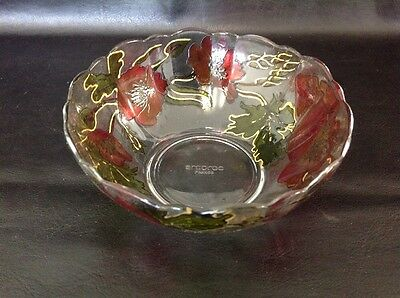Glass Dish Bowl - Vintage Flower Ruby / Cranberry & Gold - France Arcococ -