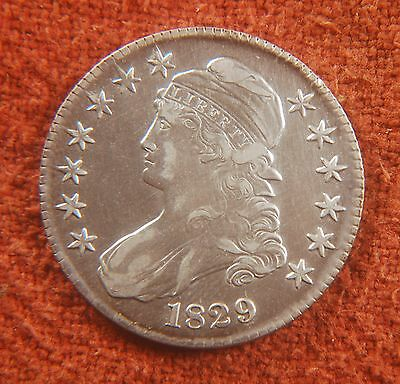 1829 US American XF/AU Real Nice Capped Bust Lettered Edge Half Dollar