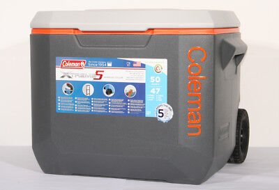 Kühlbox Coleman 50 QT Wheeled grau/orange Isolierbox Kühltasche Trolly Thermobox
