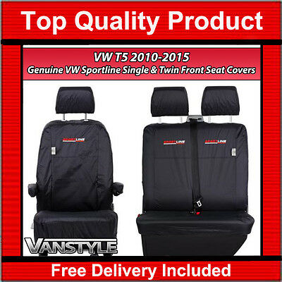 Genuine Sportline Vw T5 Transporter 10-15 Black Front Seat Covers 1+2 Waterproof