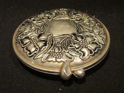 Ornate Floral Design Round Silver Metal Compact with Mirror Signed 1928