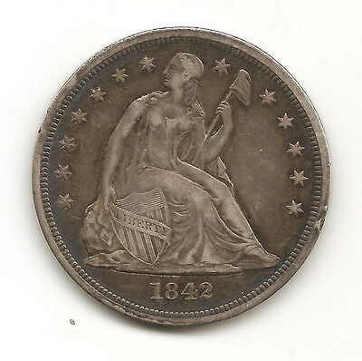 1842 US American Extra Fine Silver Seated Rare Silver Dollar