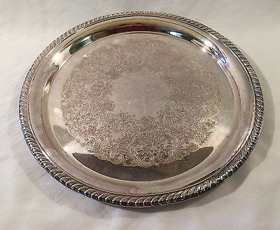 """Vintage Silver Plate 12.25"""" Round Serving Tray Rope Trim Wm Rogers 171 Eagle Sta"""
