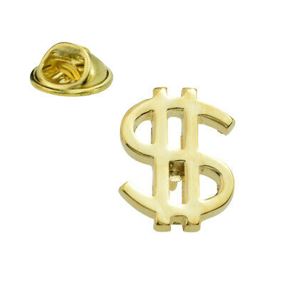 Gold Plated $ Dollar Sign Lapel Pin Badge X2AJTP581