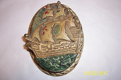 Vintage Cast Iron Door Knocker, Painted Sail Boat  / Pirate Ship