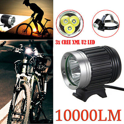 10000LM 3x CREE XML U2 LED Bicycle Bike Light Rechargeable Torch HeadLight