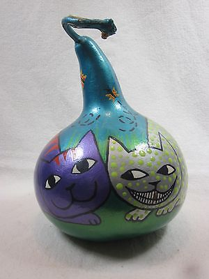 Hand Painted Gourd Whimsical Cats Purple w/Red Stripes Green Polka Dots