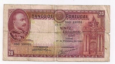 Portugal 20 Escudos Feb 27 1940 GOOD P143