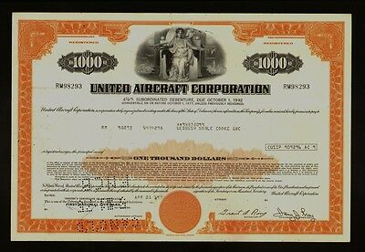 UNITED AIRCRAFT CORP ( now UT / UNITED  TECHNOLOGIES ) old bond certificate