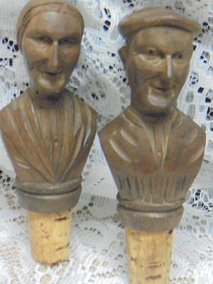 Vintage - Carved Wooden/treen - Heads - Bottle Stoppers