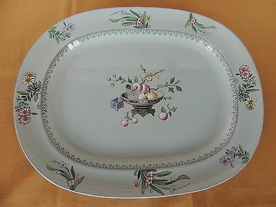 "C1878 Mintons 16.5"" Platter Hand Painted Chinese Blossom Antique Staffordshire"