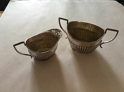 Antique Solid Silver Milk Jug Creamer & Sugar bowl - Barker Brothers Chester