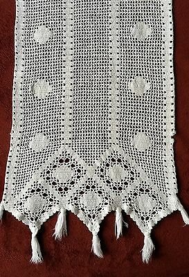 Antique Hand Crocheted Long Table Runner, Heavy Ivory Cotton, Nice!