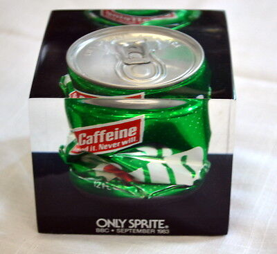 ONLY SPRITE BBC September1983 Crushed 7UP SevenUp Soda CAN in LUCITE Paperweight