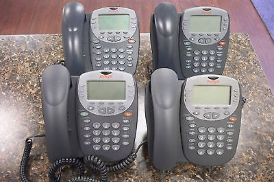 Lot of (4) Avaya 5610SW IP Digital Office Phones with Handsets & Stands