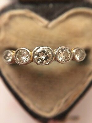 Antique Victorian Georgian Five Stone Diamond Ring 18ct Yellow Gold