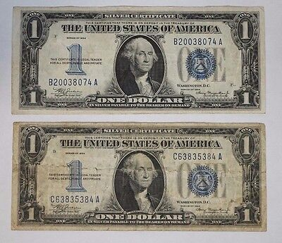 Lot of Two (2) 1934 $1 Silver Certificate Funnyback Blue Seal Notes Ave (M-612)