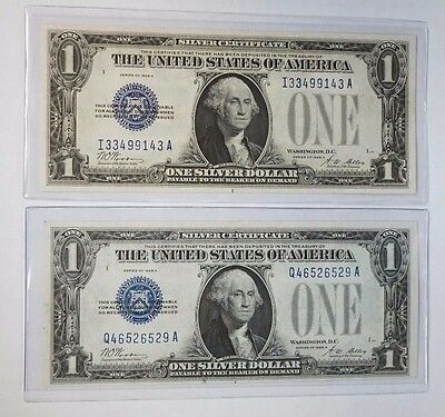 Lot of Two (2) 1928 A $1 Silver Certificate Funnyback Blue Seal Notes Unc M-611