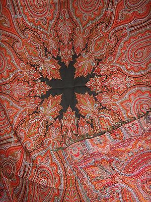 "Antique 19th Century Loomed Wool Paisley Shawl Table Cloth Black Center 68""X68"""