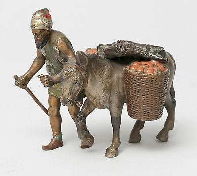 Vintage Austrian Cold Painted Bronze Figure of An African, Donkey & Fruit