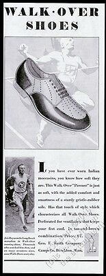 1929 Joie Ray runner photo Walk-Over running shoes vintage print ad