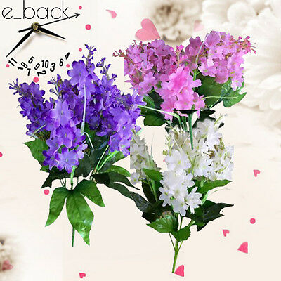 New Artificial Fake Flower Silk Plastic Bush Bouquet Home Wedding Decor White CA