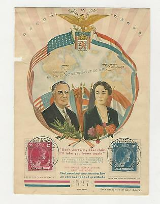 Luxembourg,  Postage Stamp, # Franklin & Eleanor Roosevelt Card, 1945