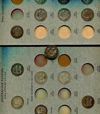 Australia 1910 - 1963 One Florin Silver Coin Lot Of 41 Different Dates G Vg Au