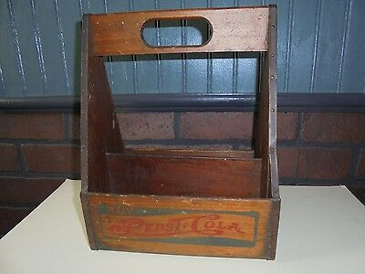 Antique / Vintage Pepsi Cola Double Dot Wood 6 Pack Bottle Carrier