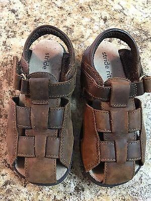STRIDE RITE  Toddler/Boys  Brown Leather Fisherman Sandals  Size 9.5 Medium