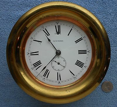 Antique Seth Thomas Ship's Clock w/Porcelain Dial
