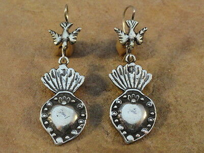 Mexican Mexico Sterling Silver Burning Heart Frida Earrings