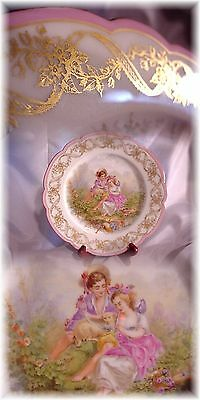 Antique French Sevres Portrait Scene Plate Pink Gold Roses Ribbons France Signed
