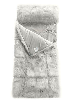 Restoration Hardware Teen Kashmir Faux Fur Sleeping Bag-Grey