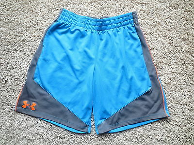 Under Armour Blue/gray Loose Fit Heat Gear Boys Shorts Sz Youth Large