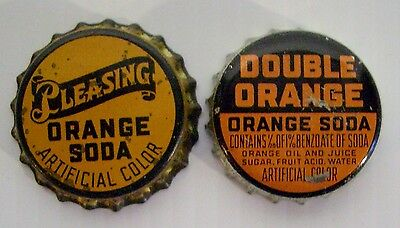 2 Vintage Cork Lined Soda Bottle Caps - PLEASING ORANGE - - SODA & DOUBLE ORANGE