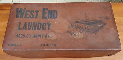 Rare Antique Vtg Early 1900s WEST END LAUNDRY Advertising Transport Box Trunk