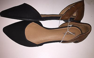 NEW Size 7.5 Merona Black Cognac Brown Pointy Flats Shoes Women's casual D'Orsay