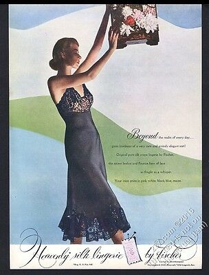 1948 Fischer silk lingerie woman in black lace slip photo vintage print ad 2