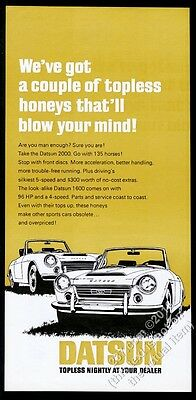 1969 Datsun 1600 2000 convertible roadster car art vintage print ad