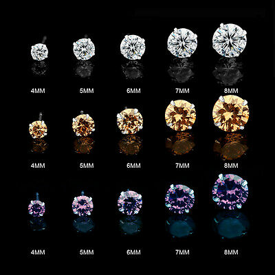 .925 Sterling Silver Round Cut Clear Cubic Zirconia Stud Earrings New Pick Color