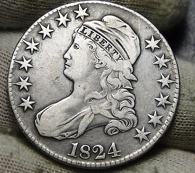 1824 Capped Bust Half Dollar 50 Cents - Nice Coin Free Shipping (5857)