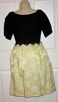 Vintage 50's 60's Junior Size 7 Yellow Brocade Black Bodice & netting crinoline