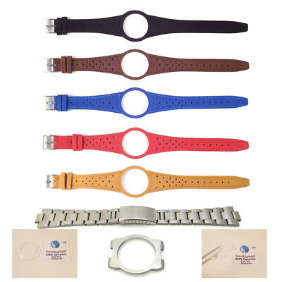 New Mens Watch Strap Band For OMEGA DYNAMIC Leather Replacement Silver Buckle S6