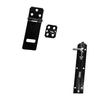 Iron Latch Slide Lock Door Gate Barrel Bolt Hardware + Door Hasp and Staple