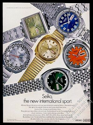 1969 Seiko watch 6 styles color photo vintage print ad